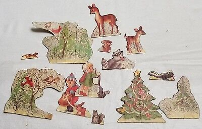 Vintage Lot of 11 CHRISTMAS Paper Cut Out Decorations