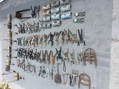 Collection of vintage MOLE TRAPS cast iron duffus scissor pest control antique