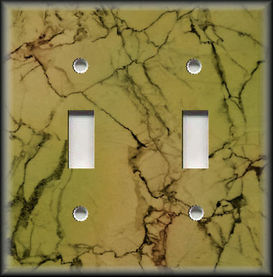 Metal Light Switch Plate Covers & Outlets - Marble Stone Image Design Green 03