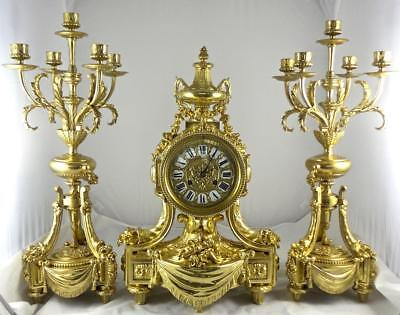 Spectacular XL Antique 19thc French Solid Gilt Bronze Mantle Clock Garniture Set