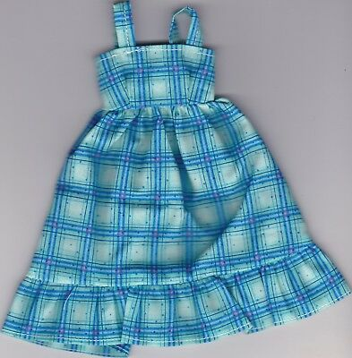 Doll Clothes-Pretty Turquoise Print Sundress fits Barbie Doll-Homemade SD4