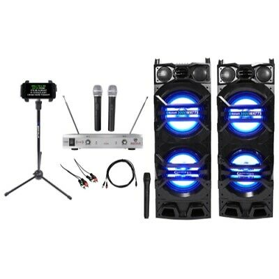 "2) Technical Pro Dual 10"" 3000w Bluetooth Karaoke Speakers w/USB/SD/LED+3) Mics"