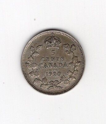 1920 Canada Five 5 Cent Fishscale George V Silver Nickel Coin