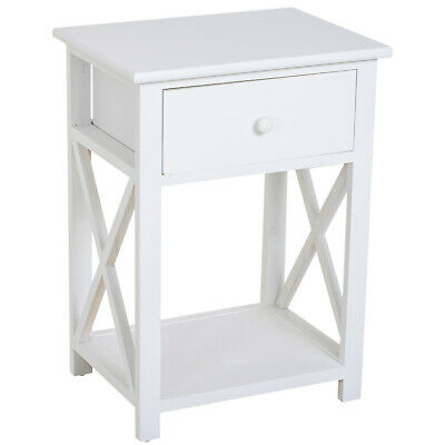 End Table Bed Side Table Nightstand Open Cabinet w/ Drawer and Shelf White