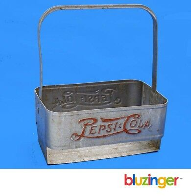Early PEPSI COLA Embossed Aluminum Bottle Caddy Double Dot Metal Carrier
