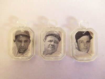 Rare! 3 Vintage 2 Sided/ 6 Famous Baseball Players Cracker Jack Charms Babe Ruth