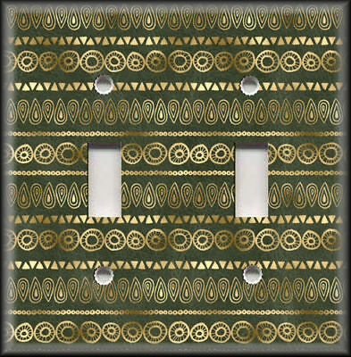 Metal Light Switch Covers - Vintage Design Decor Green With Gold Pattern 01