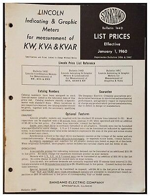 Sangamo Lincoln Indicating & Graphic Meters for KW, KVA, KVAR, 1960 Price List