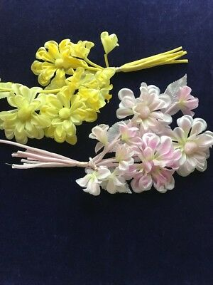 """Vintage Millinery Flower Hydrangea Cluster of Six bunches of 1/"""" Blooms Pink UD"""