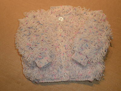 Baby Loopy Cardigan in White/ Colour Splashes 6 - 12 months