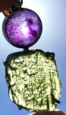 MOLDAVITE Amethyst Sterling Silver Pendant Necklace Gemstone Authentic US Seller