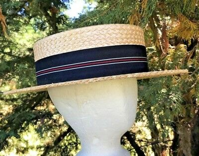 Vintage 1940's 50's BERG Fifth Ave New York Straw Boater Skimmer Hat Large MINT