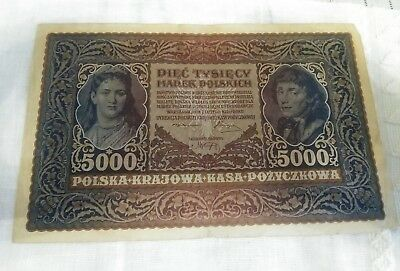 1920 Poland 5000 Marek  Woman And Kosciusko,  Crowned Eagle On The Back.