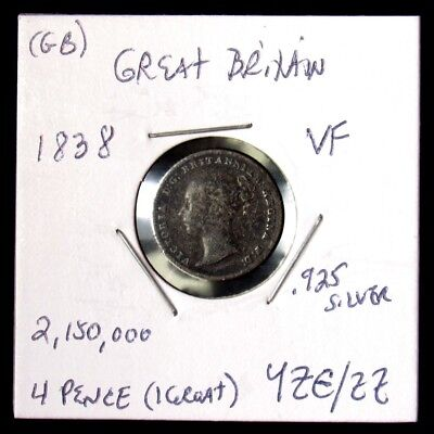 1838 Great Britain 4 Pence or Groat - VF - KM#731.1, 1st Year Victorian Type