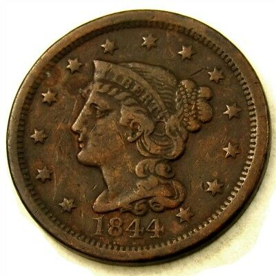 1844 Braided Hair Large Cent - VF Very Fine - Nice Detail in Hair