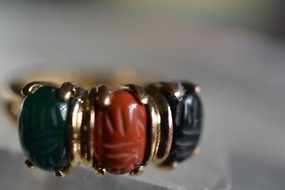 Egyptian Scarab Cocktail Ring Gold Over Sterling Silver Size 5