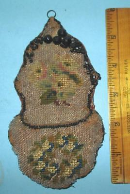 Antique Small Embroidered and Beaded wall pocket