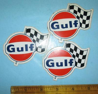 Three Unused Vintage Gulf Oil Stickers w/ racing flags