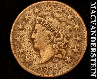 1834 Sm 8 Coronet Head Large Cent-Semi Key Better Date!! #a8599