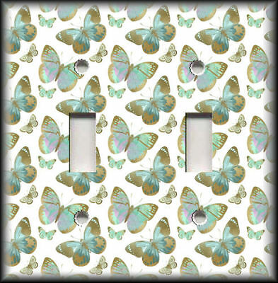 Metal Switch Plate Covers Mint Green And Gold Butterflies Design Home Decor