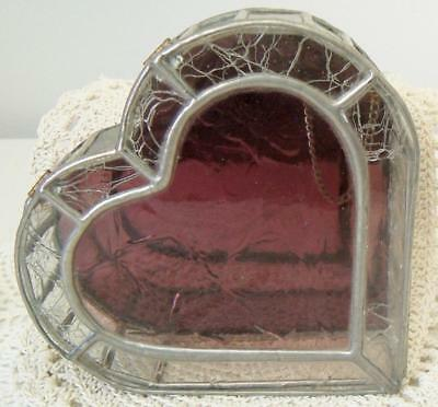 Vintage Hand Made Leaded/Stained Glass Heart Shaped Jewelry Box~Hinged Lid