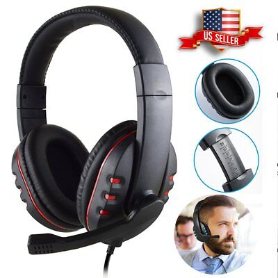 3.5mm Stereo Gaming Headset MIC LED Headphones for PC Mac Laptop PS4 Xbox One US
