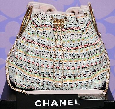 d61096b2071b CHANEL 17C CUBA CRUISE Fantasy Tweed Quilted Drawstring Bracelet Bucket C/B  Bag!