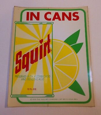 "Vintage Squirt 1970 ""Squirt in Cans"" Stick on Decal"