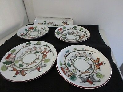 "Crown Staffordshire English Bone China ""hunting Scene"" 4 Dishes, 1 Oblong Dish"