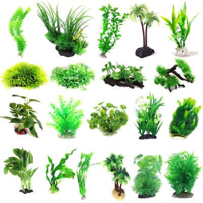 Aquarium Fish Tank Landscaping Plastic Water Plants for Decoration Multi Styles