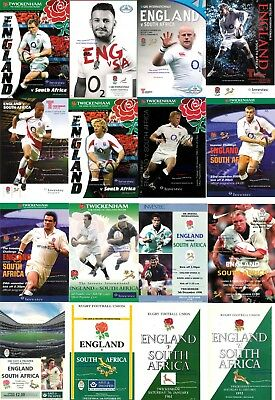 ENGLAND v SOUTH AFRICA RUGBY PROGRAMMES 1952 - 2014 inc 61 92 95 97 98 00 01 02