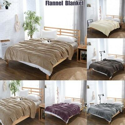 Soft Warm Plush Fleece Blanket Throw Rug Sofa Bedding Twin Full Queen King Size