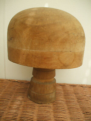 VINTAGE FRENCH WOODEN HAT-BLOCK/FORM WITH STAND 22cm
