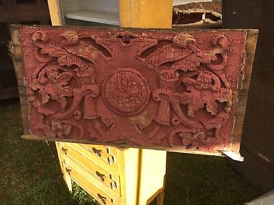 """FANCY c1880 hand carved Victorian fascia board panel mauve/pink 34"""" x 18"""""""