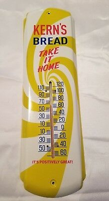 Kern's Bread Take It Home It's Positively Great All Metal Yellow Red Thermometer