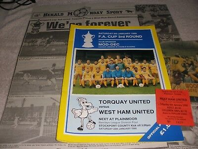 Torquay United v West Ham United  6/1/90.  FA Cup 3rd Round.  + Ticket + Report.