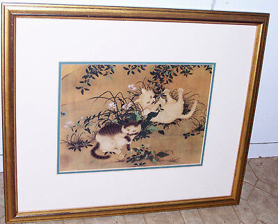 """Chinese CATS Print """"Spring Play in Garden"""" Framed Met Museum Reproduction 18x15"""""""