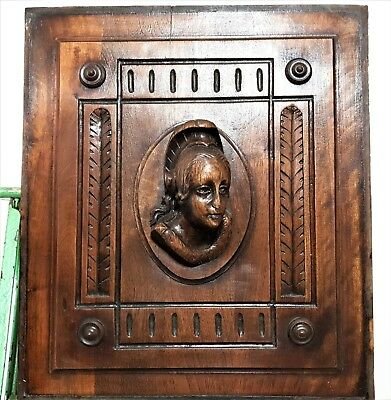 Gothic Lady figure panel Antique french carved wood architectural salvage