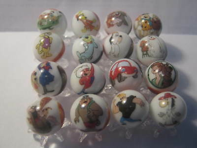 Hanna Barbera mix lot collection Glass Marbles 5/8 Size with stands