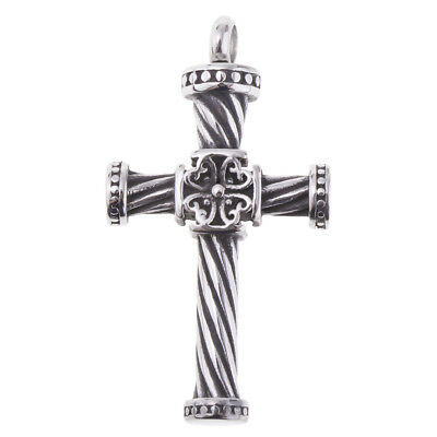 Stainless Steel Cross Cremation Urn Necklace for Ash Holder Memorial Pendant