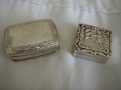 Two Solid Sterling Silver Hallmarked Snuff Pill Boxes