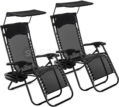 DOUBLE LOVE SEAT FOLDING GRAVITY SUN LOUNGER CHAIR RECLINER GARDEN w 2 SIDE TRAY