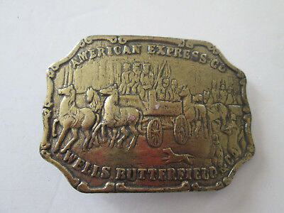 Vintage American Express Wells Butterfield & Co Embossed Brass Belt Buckle 2240