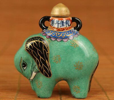 Chinese Old Porcelain Handmade Painting elephant Statue Snuff Bottle noble gift