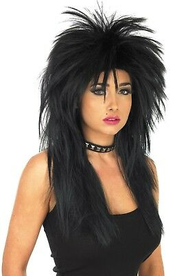 Black Unisex Glam Rock Wig Accessory For 70s 80s Fancy Dress Mens or Ladies
