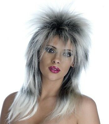 Unisex Glam Rock Wig Silver/Black Accessory For 70s 80s Fancy Dress Mens Ladies