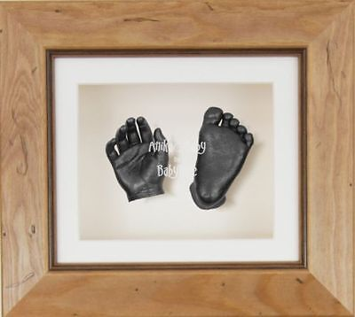 BabyRice 3D Baby Casting Kit Set Wooden Rustic Frame Pewter Hand Foot Casts