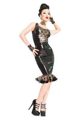 SHELF CLEARANCE R1119 Rubber Latex GORGEOUS TOP *Blk/PS Gold* 8 SECONDS £98