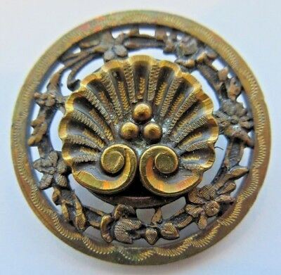Outstanding LARGE Antique Victorian Pierced Metal Picture BUTTON Seashell (D19)