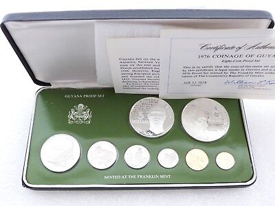 1976 Franklin Mint Coinage of Guyana Proof 9 Coin Set Box Coa W/ 2 Silver Coins